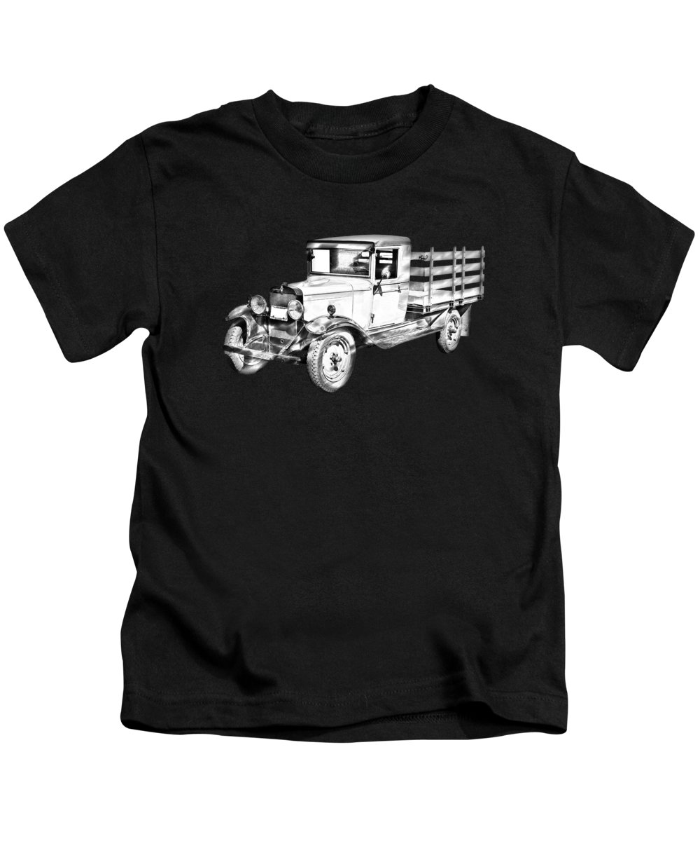 1929 Kids T-Shirt featuring the photograph 1929 Chevy Truck 1 Ton Stake Body Drawing by Keith Webber Jr