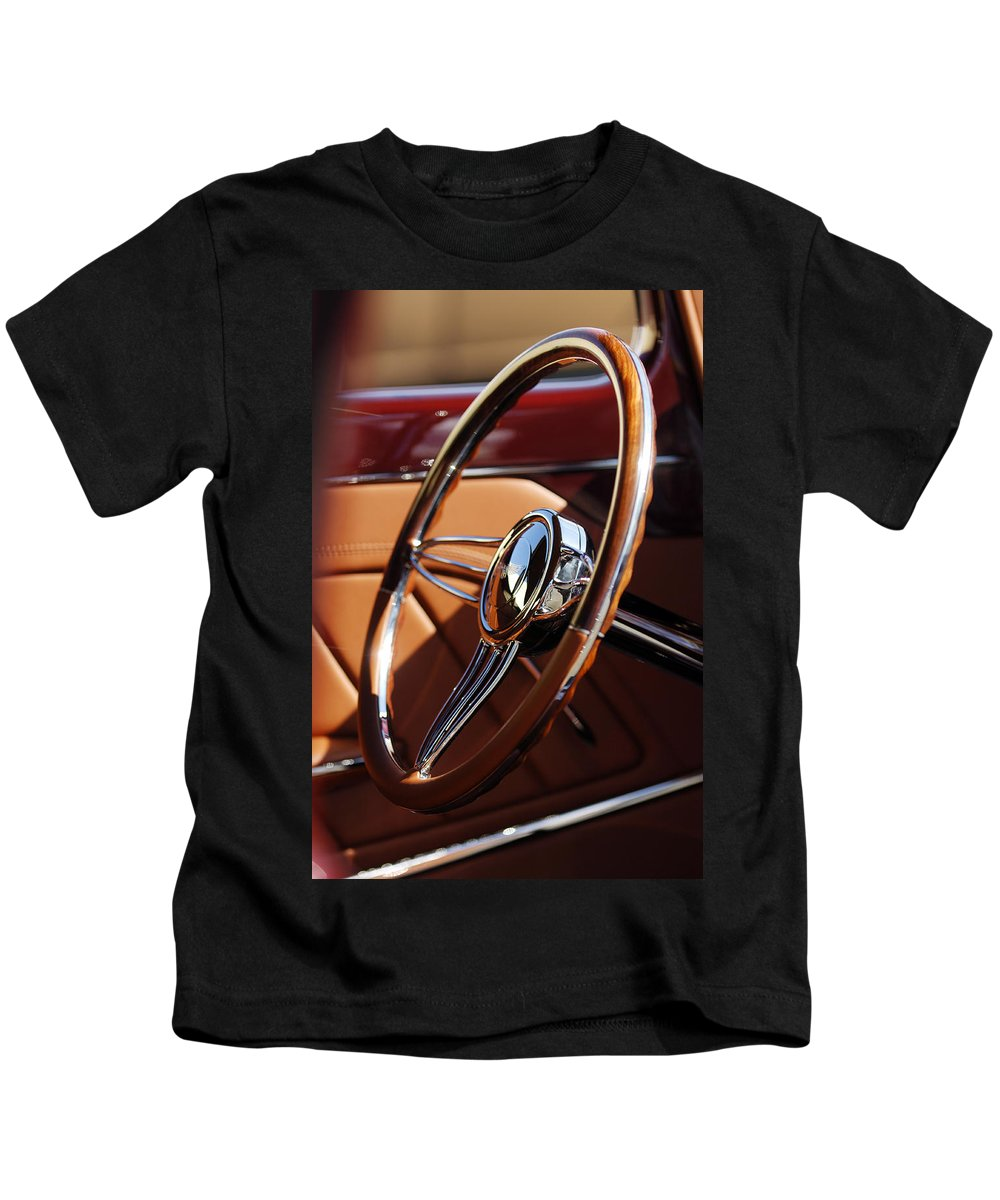 1932 Ford Kids T-Shirt featuring the photograph 1932 Ford Hot Rod Steering Wheel 2 by Jill Reger