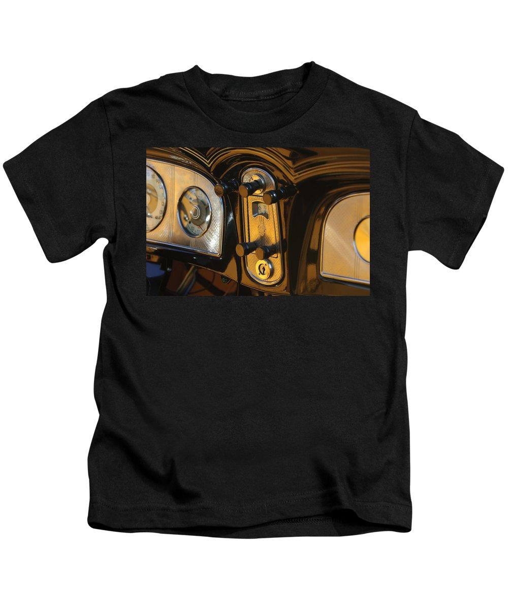 1935 Packard Kids T-Shirt featuring the photograph 1935 Packard Console by Jill Reger