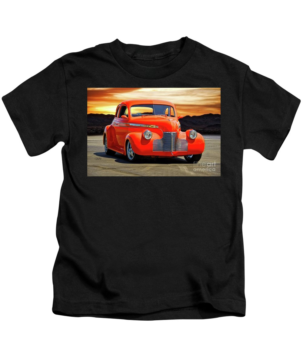 Auto Kids T-Shirt featuring the photograph 1941 Chevrolet Coupe 'reno Sunrise' by Dave Koontz