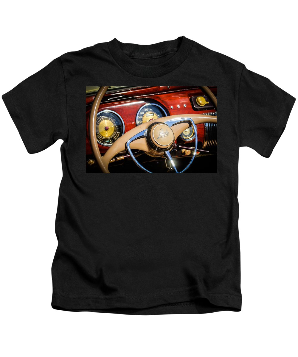 Car Kids T-Shirt featuring the photograph 1941 Lincoln Continental Cabriolet V12 Steering Wheel by Jill Reger