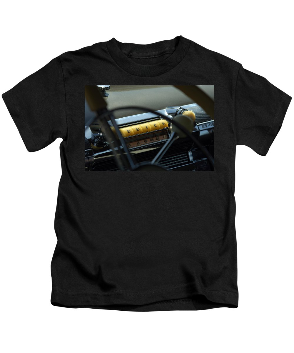 Car Kids T-Shirt featuring the photograph 1947 Buick Super Radio by Jill Reger
