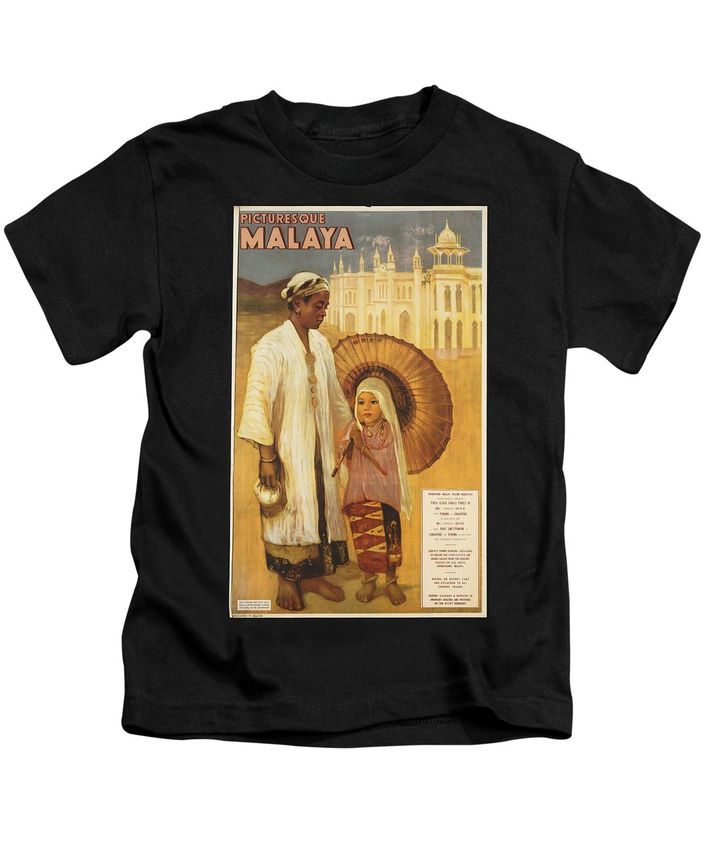 Public-domain-images-free-vintage-posters-0201 Kids T-Shirt featuring the painting Public Domain Images by MotionAge Designs
