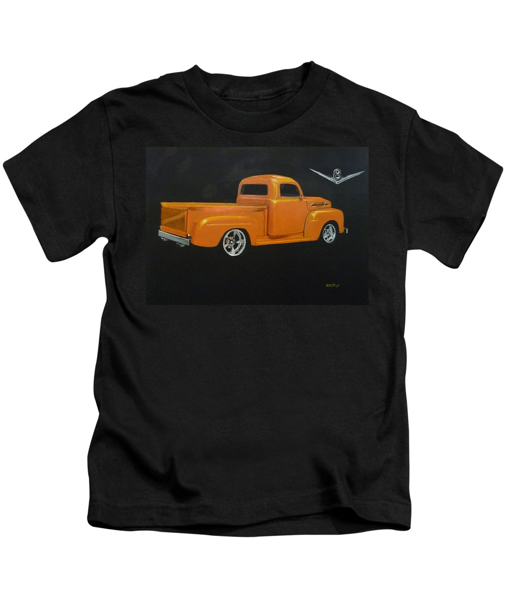 Truck Kids T-Shirt featuring the painting 1952 Ford Pickup Custom by Richard Le Page