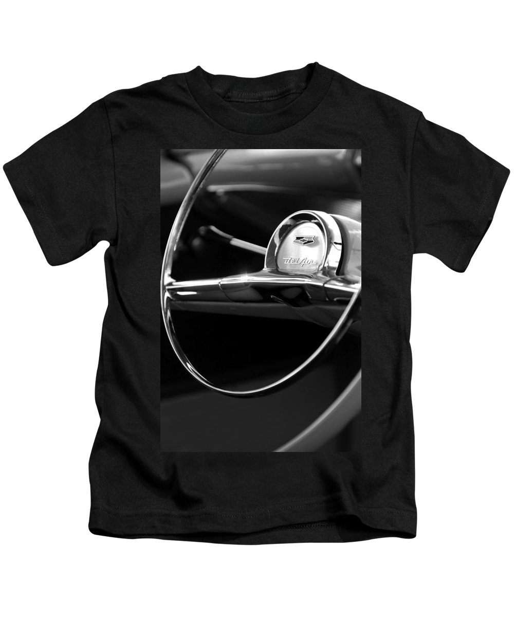 Transportation Kids T-Shirt featuring the photograph 1957 Chevrolet Belair Steering Wheel Black And White by Jill Reger