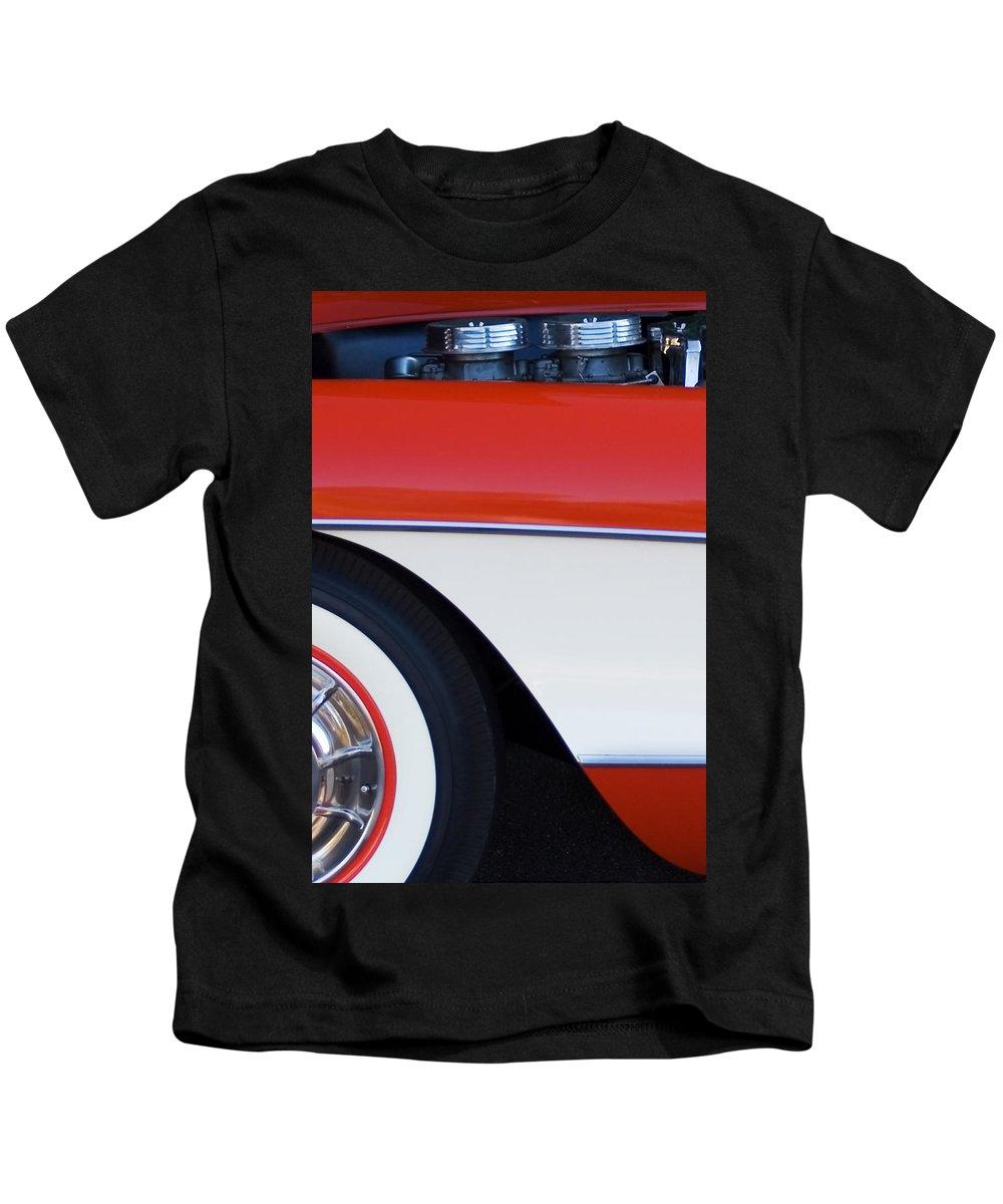 Car Kids T-Shirt featuring the photograph 1957 Chevrolet Corvette Convertible Front End by Jill Reger