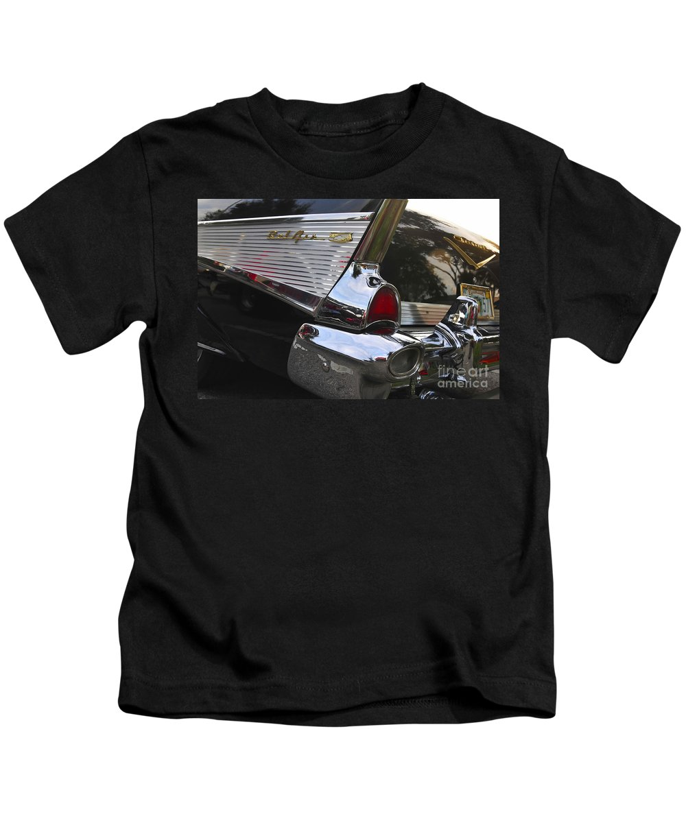 1957.chevy Kids T-Shirt featuring the photograph 1957 Chevy Bel-air by David Lee Thompson