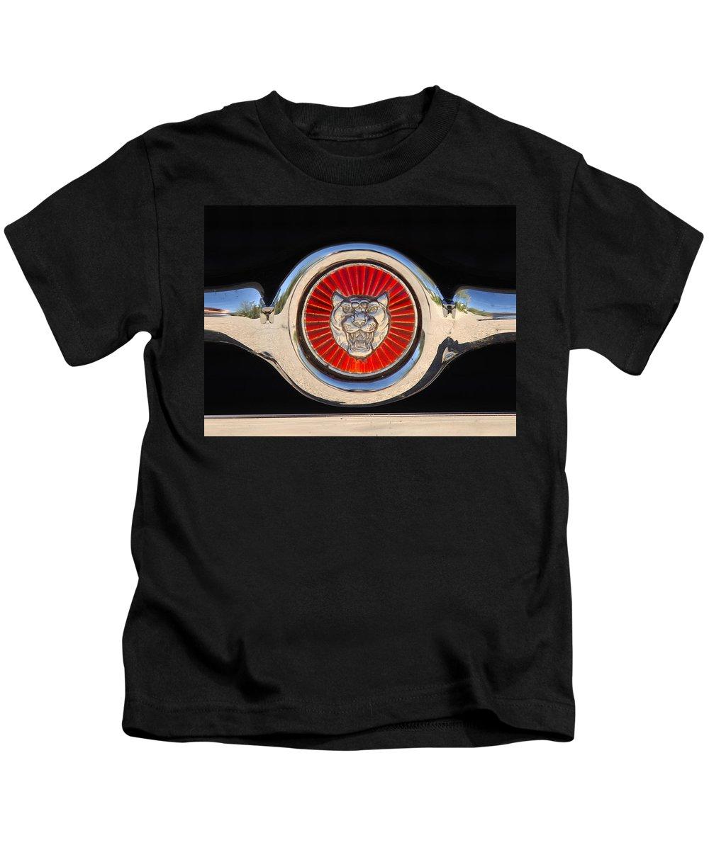 Transportation Kids T-Shirt featuring the photograph 1963 Jaguar Xke Roadster Emblem by Jill Reger