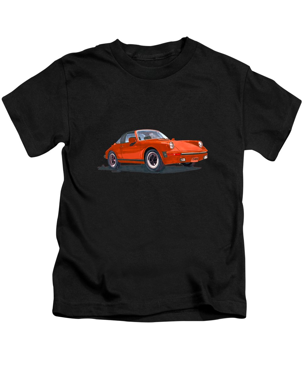 A Watercolor Portrait Of My Late Wife's Red 1968 Porsche 911 Targa Kids T-Shirt featuring the painting Porsche 911 Targa Terific by Jack Pumphrey