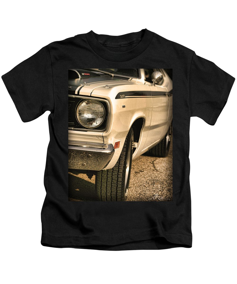 1970 Kids T-Shirt featuring the photograph 1971 Plymouth Duster 340 Four Barrel by Gordon Dean II