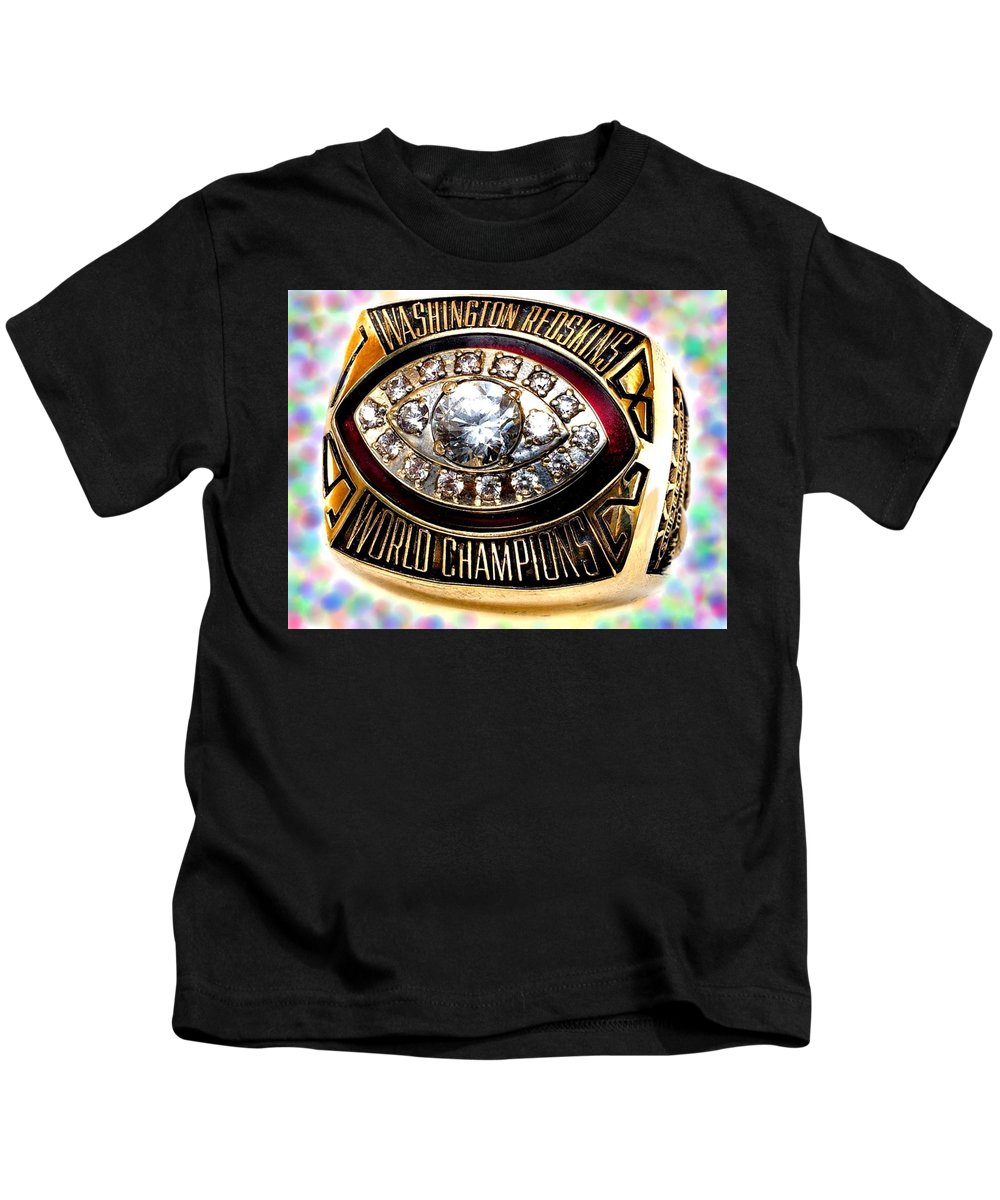 Redskins Kids T-Shirt featuring the photograph 1982 Redskins Super Bowl Ring by Paul Van Scott