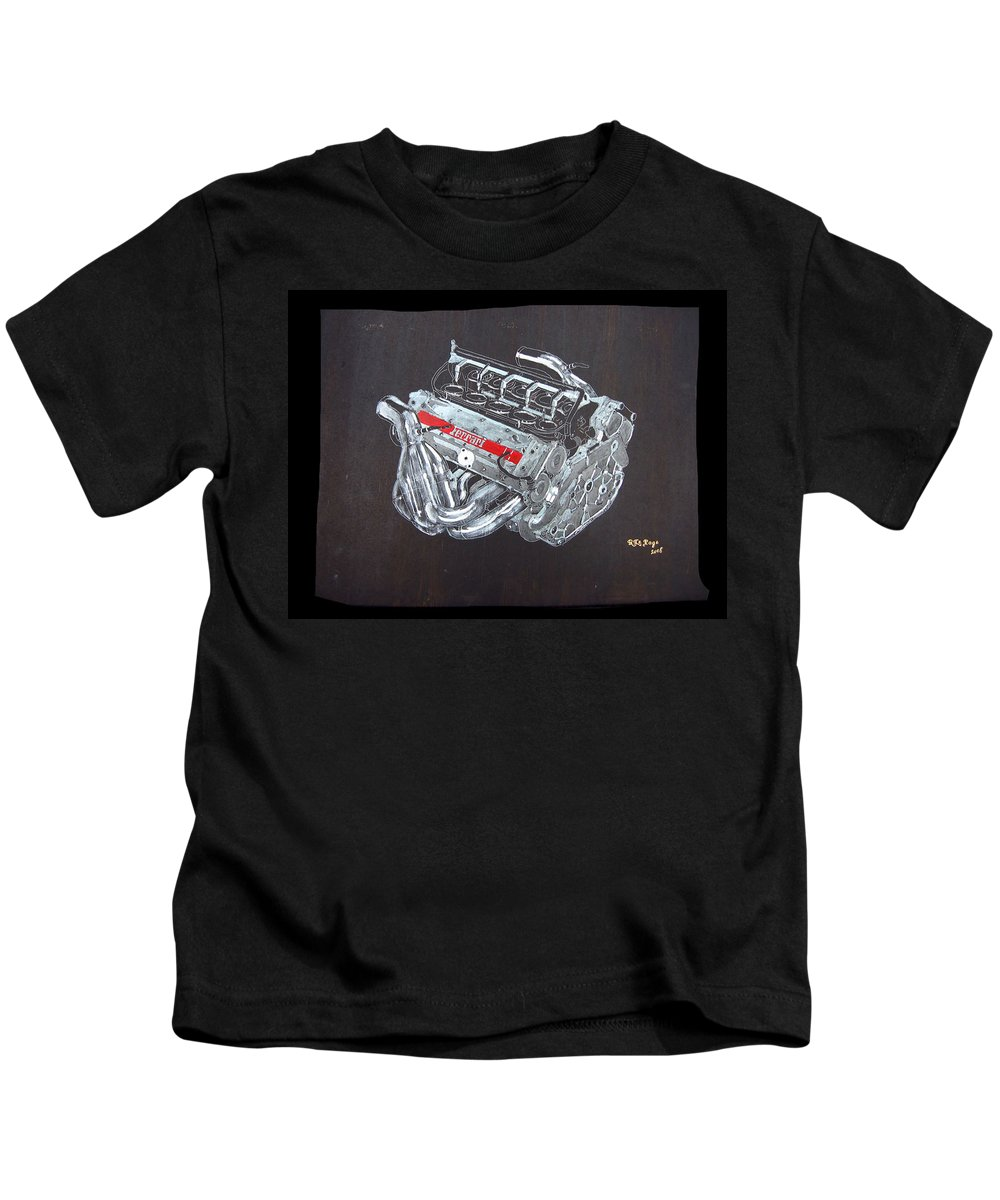 Ferrari Kids T-Shirt featuring the painting 1996 Ferrari F1 V10 Engine by Richard Le Page