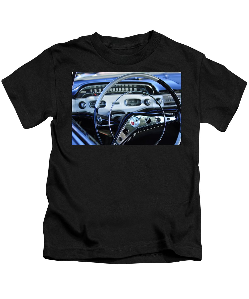 1958 Chevrolet Impala Kids T-Shirt featuring the photograph 1958 Chevrolet Impala Steering Wheel by Jill Reger