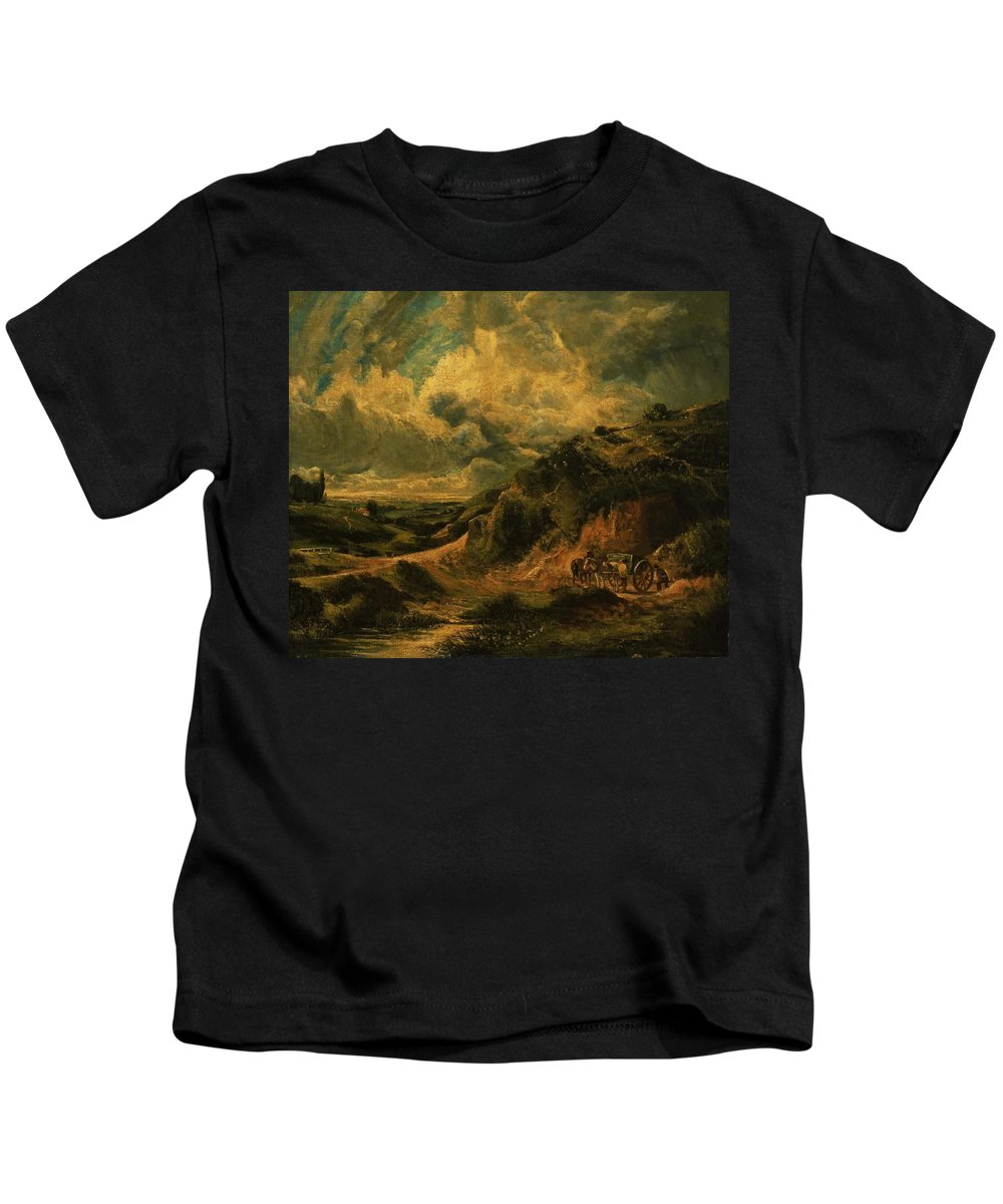 A Heath Painting Painted Originally By John Constable Kids T-Shirt featuring the painting A Heath Painting Painted Originally by John Constable