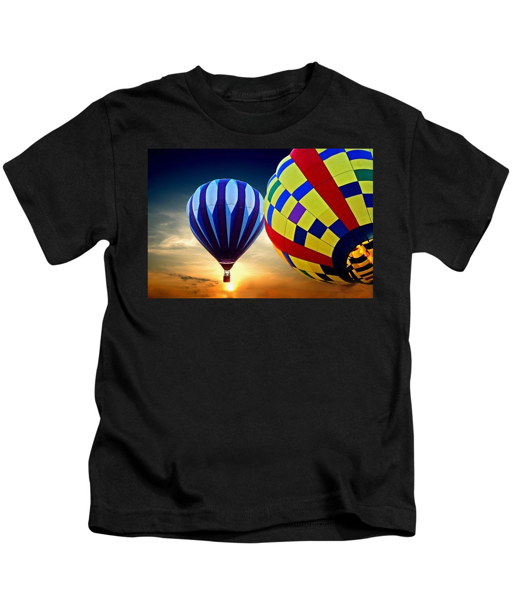 Balloons Kids T-Shirt featuring the painting 2 Balloons by Michael Thomas