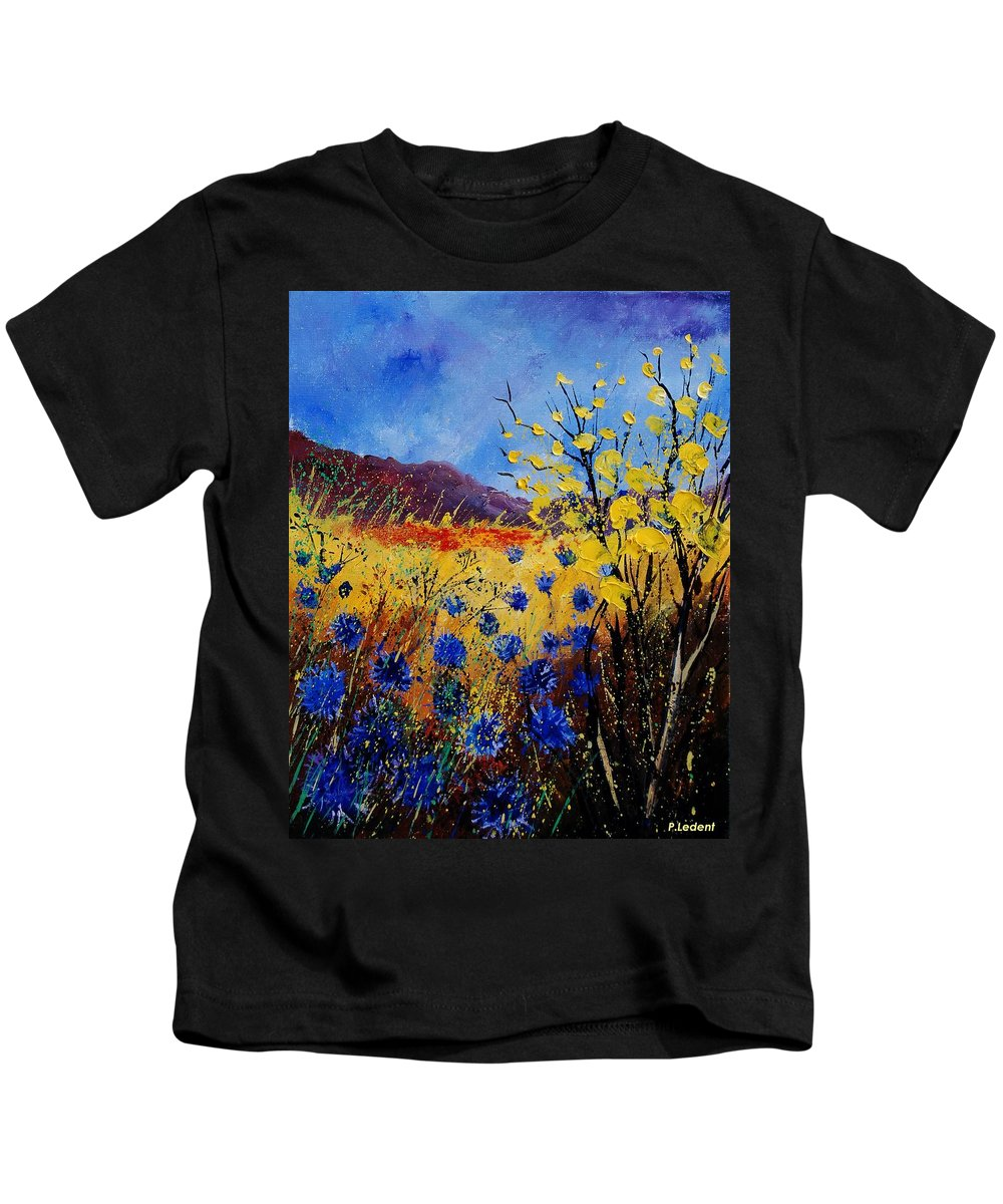 Poppies Flowers Floral Kids T-Shirt featuring the painting Blue Cornflowers by Pol Ledent
