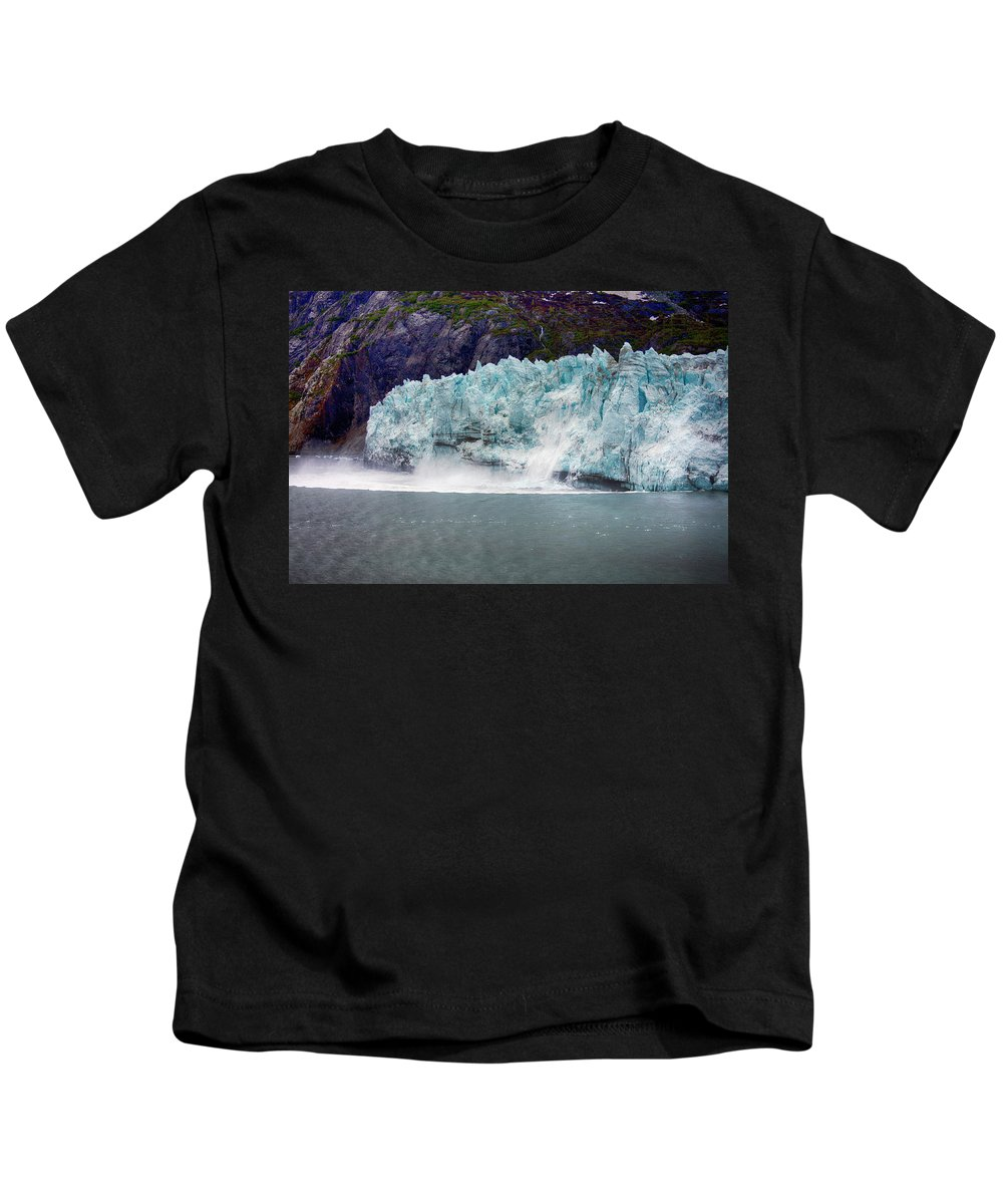 Calving Kids T-Shirt featuring the photograph Calving Glacier by Hugh Smith