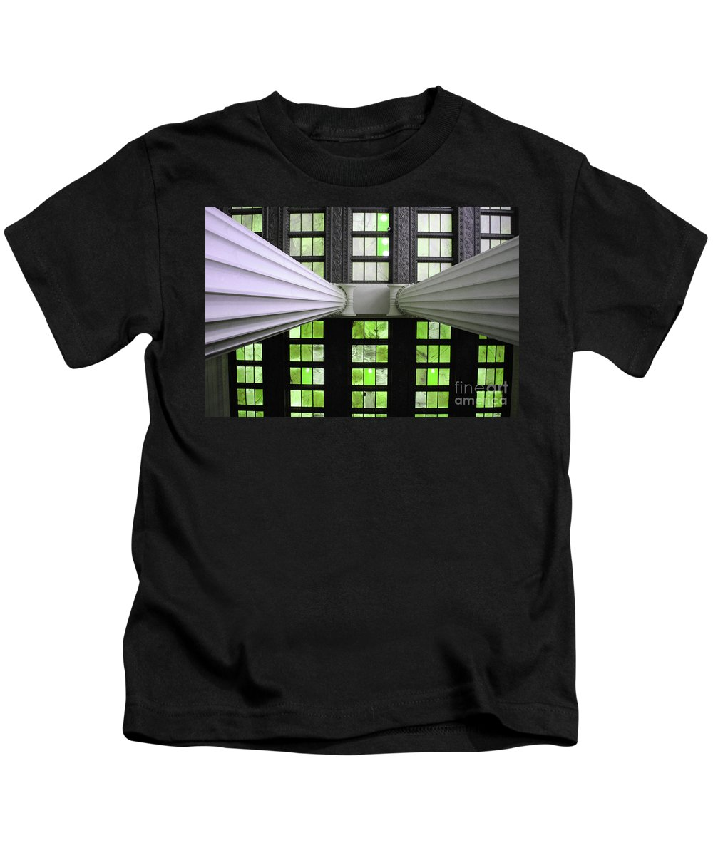 Lincoln Kids T-Shirt featuring the photograph 2 Column Stain Green by Jost Houk