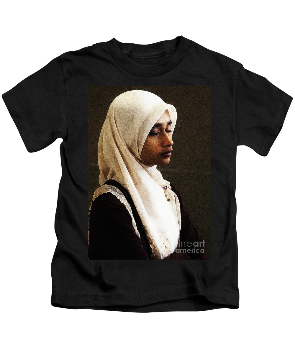 Hijab Kids T-Shirt featuring the photograph Deep In Thought by Sheila Smart Fine Art Photography