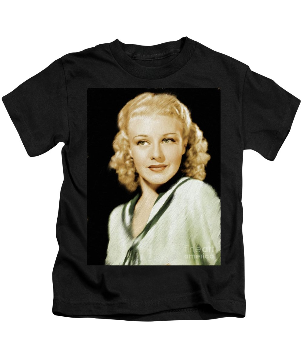 Ginger Kids T-Shirt featuring the painting Ginger Rogers, Legend by Mary Bassett