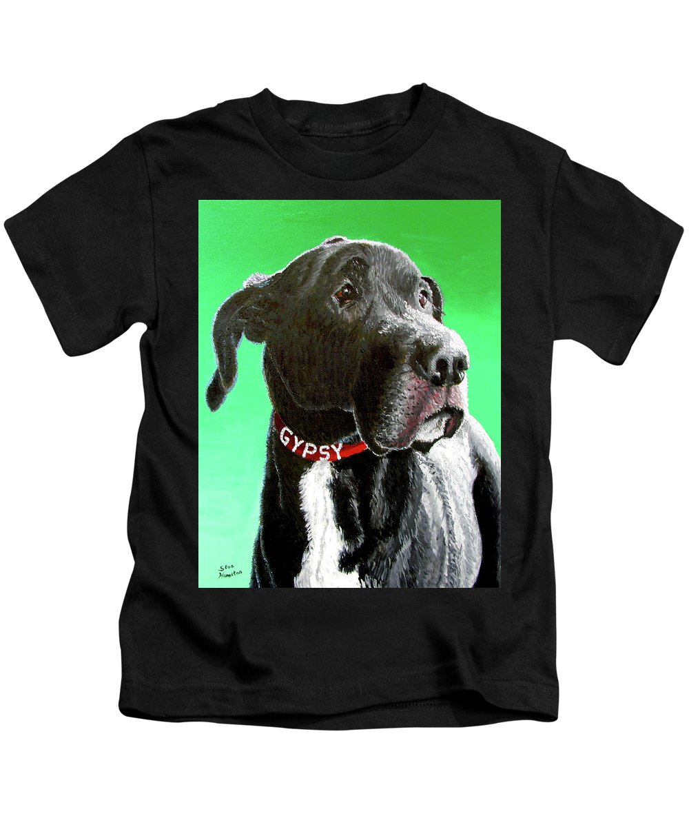 Dog Portrait Kids T-Shirt featuring the painting Gypsy by Stan Hamilton