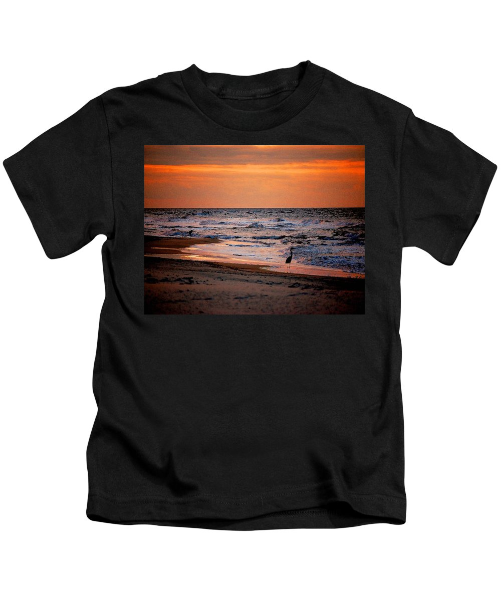 Pelican Kids T-Shirt featuring the painting 2 Herons On The Beach by Michael Thomas
