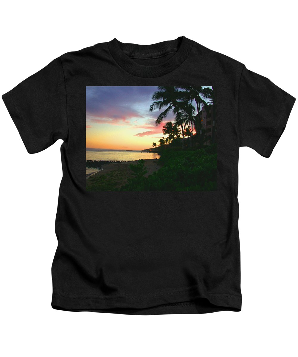 Sunset Kids T-Shirt featuring the photograph Island Sunset by Angie Hamlin