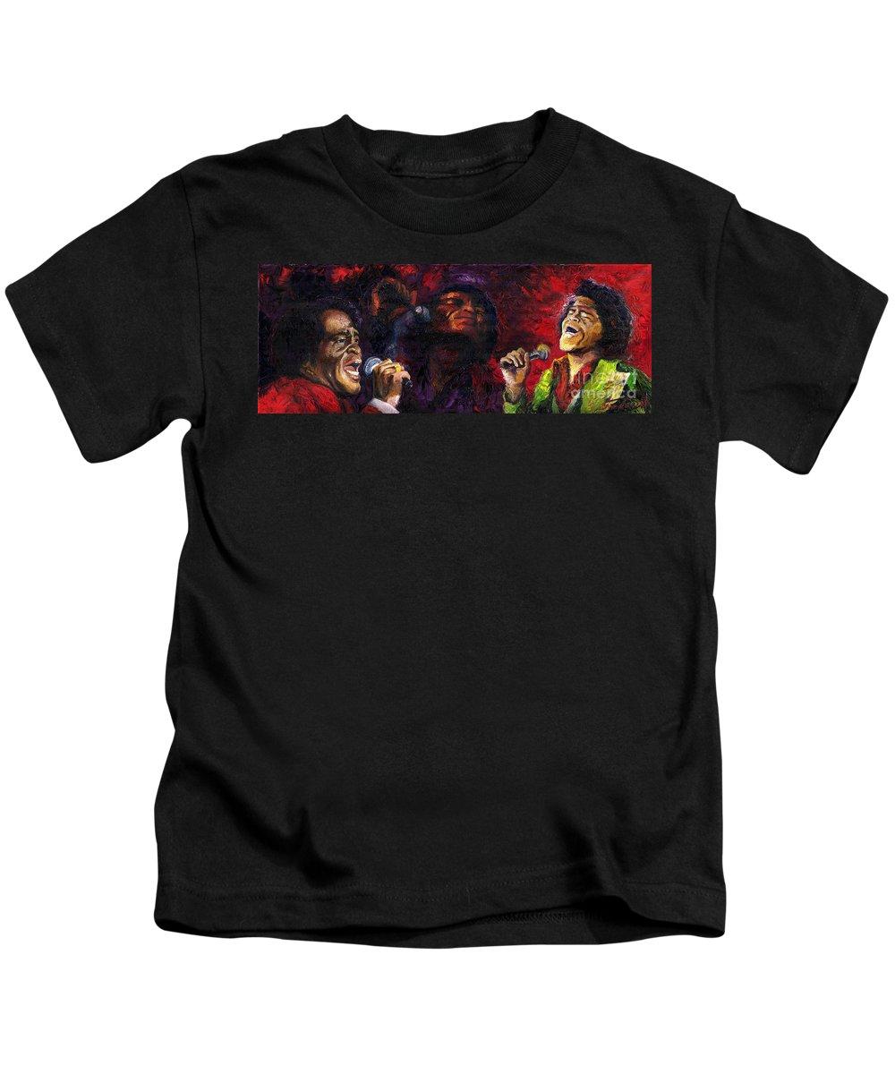 Jazz Kids T-Shirt featuring the painting Jazz James Brown by Yuriy Shevchuk