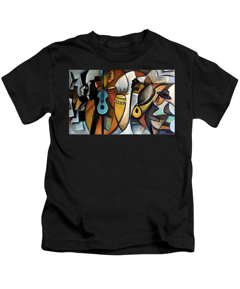 Latin Jazz Musicians Kids T-Shirt featuring the painting Jazzz by Valerie Vescovi