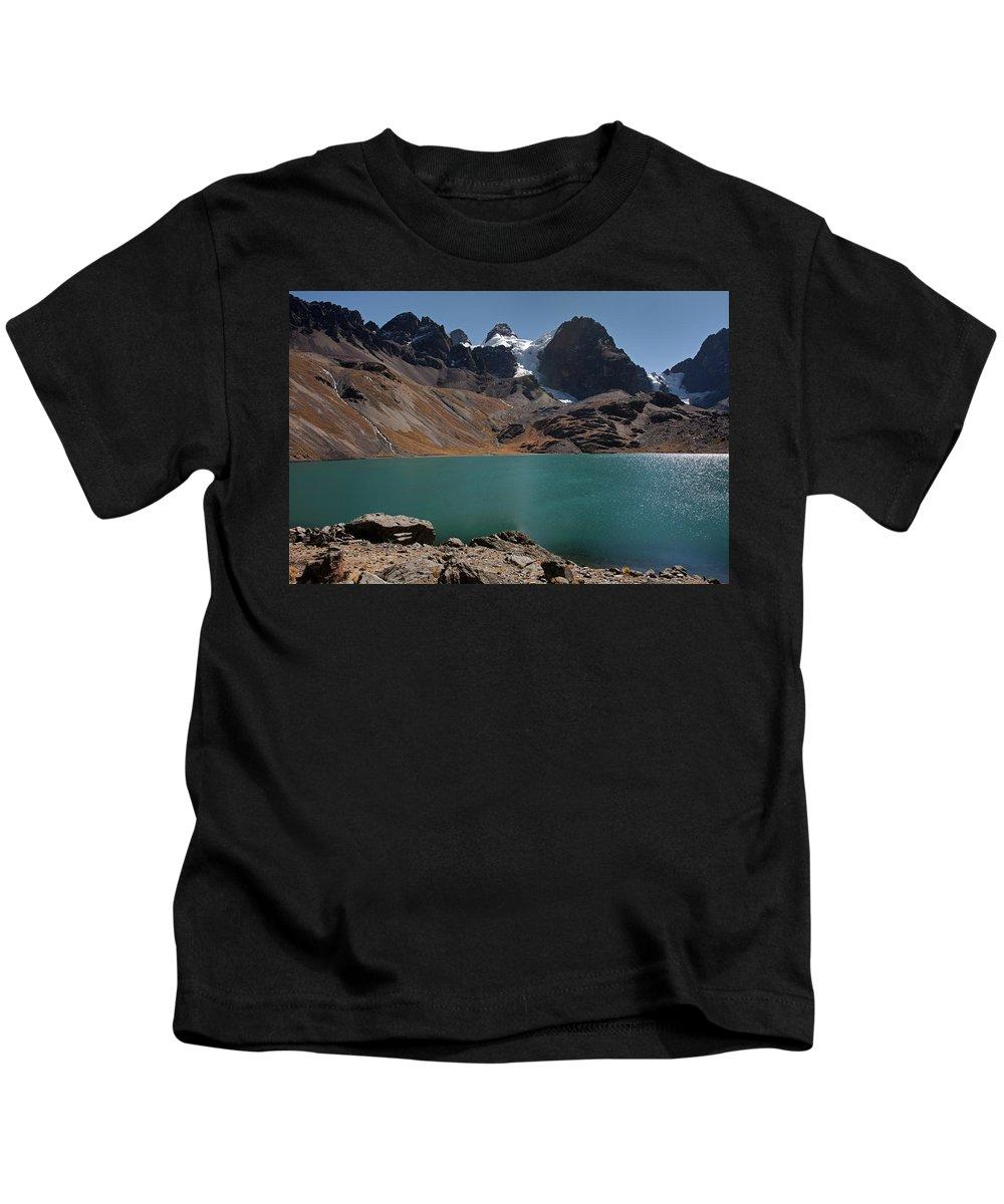 Laguna Kids T-Shirt featuring the photograph Laguna Chiar Khota In Condoriri Mountains by Aivar Mikko