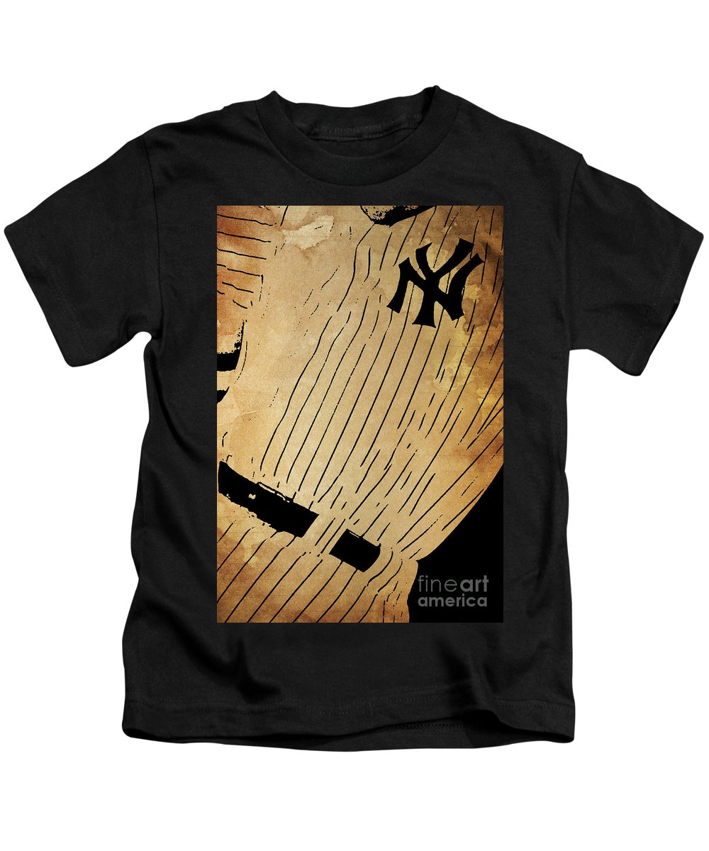 Yankees Kids T-Shirt featuring the painting New York Yankees Baseball Team Vintage Card by Drawspots Illustrations