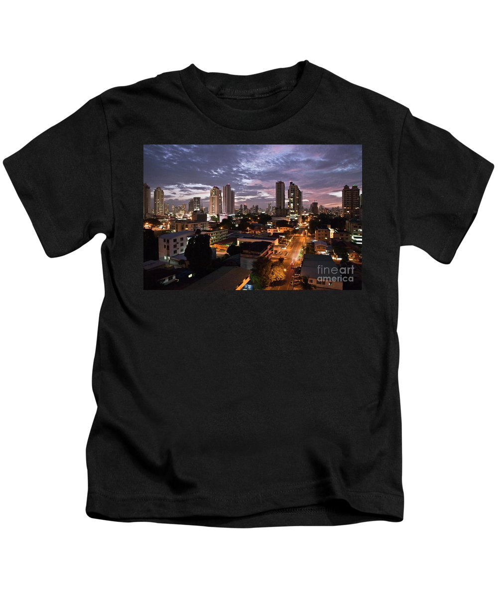 Heiko Kids T-Shirt featuring the photograph Panama City At Night by Heiko Koehrer-Wagner