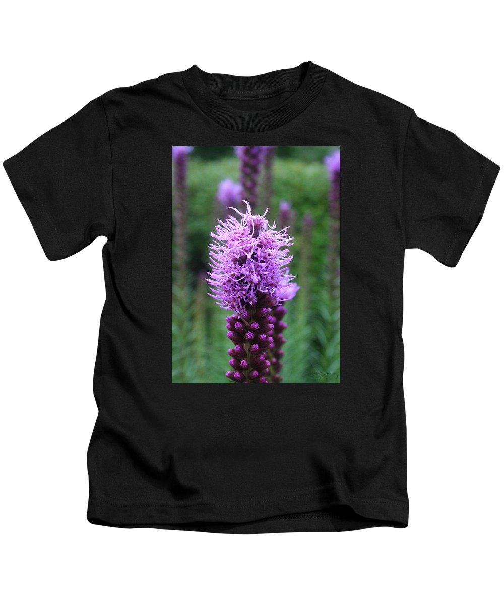 Pollen Kids T-Shirt featuring the photograph Purple Flower by Dawn Whiteaker