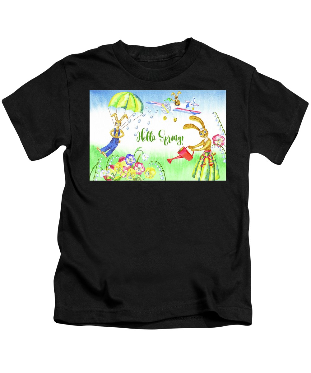 Lily Of The Valley Kids T-Shirt featuring the digital art Rabbits And Flowers by Natalia Piacheva