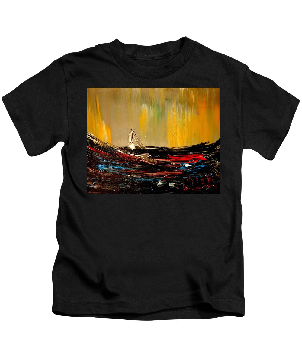 Kids T-Shirt featuring the painting Seascape by Mark Kazav