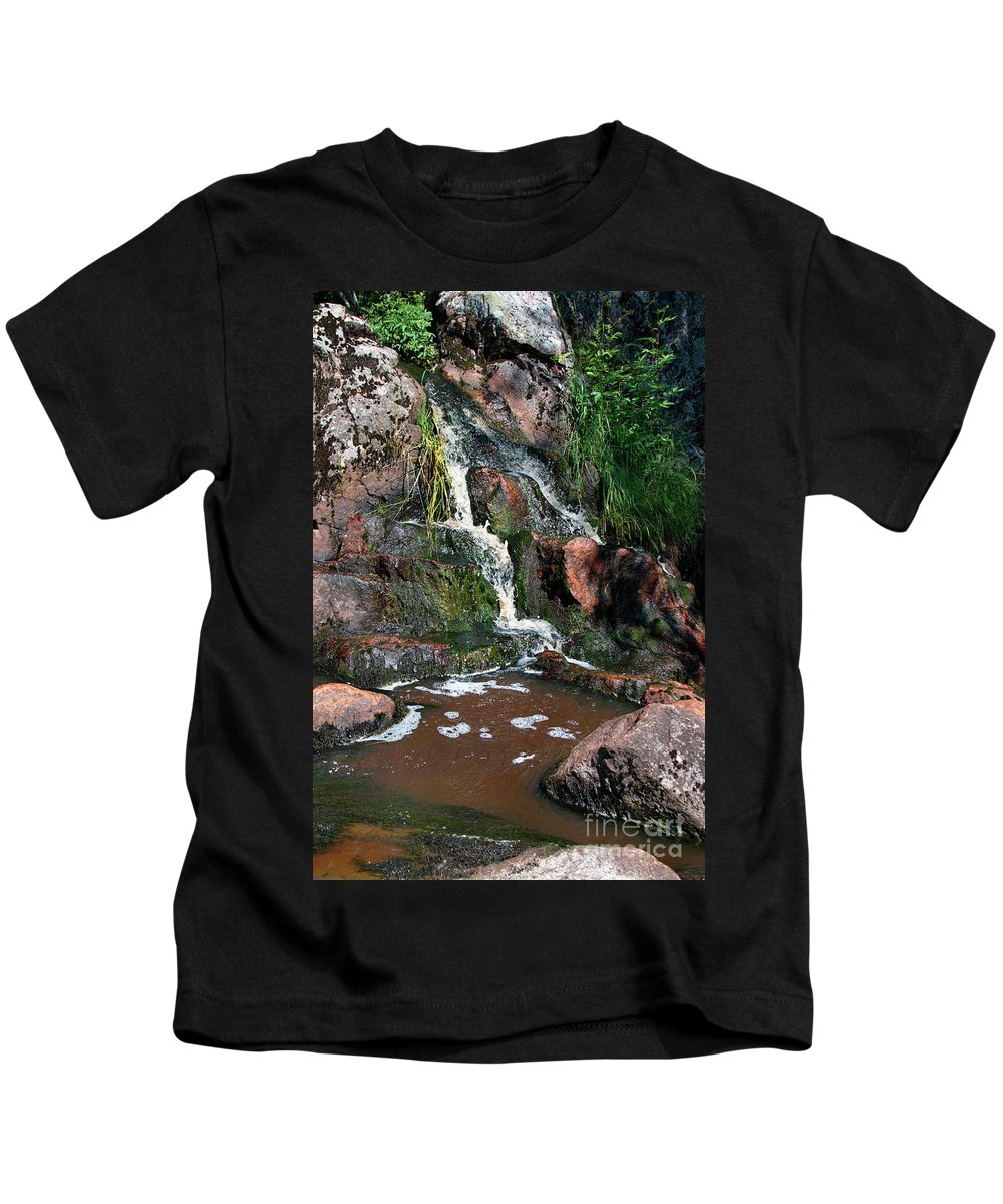 Waterfall Kids T-Shirt featuring the photograph Small Waterfall by Esko Lindell