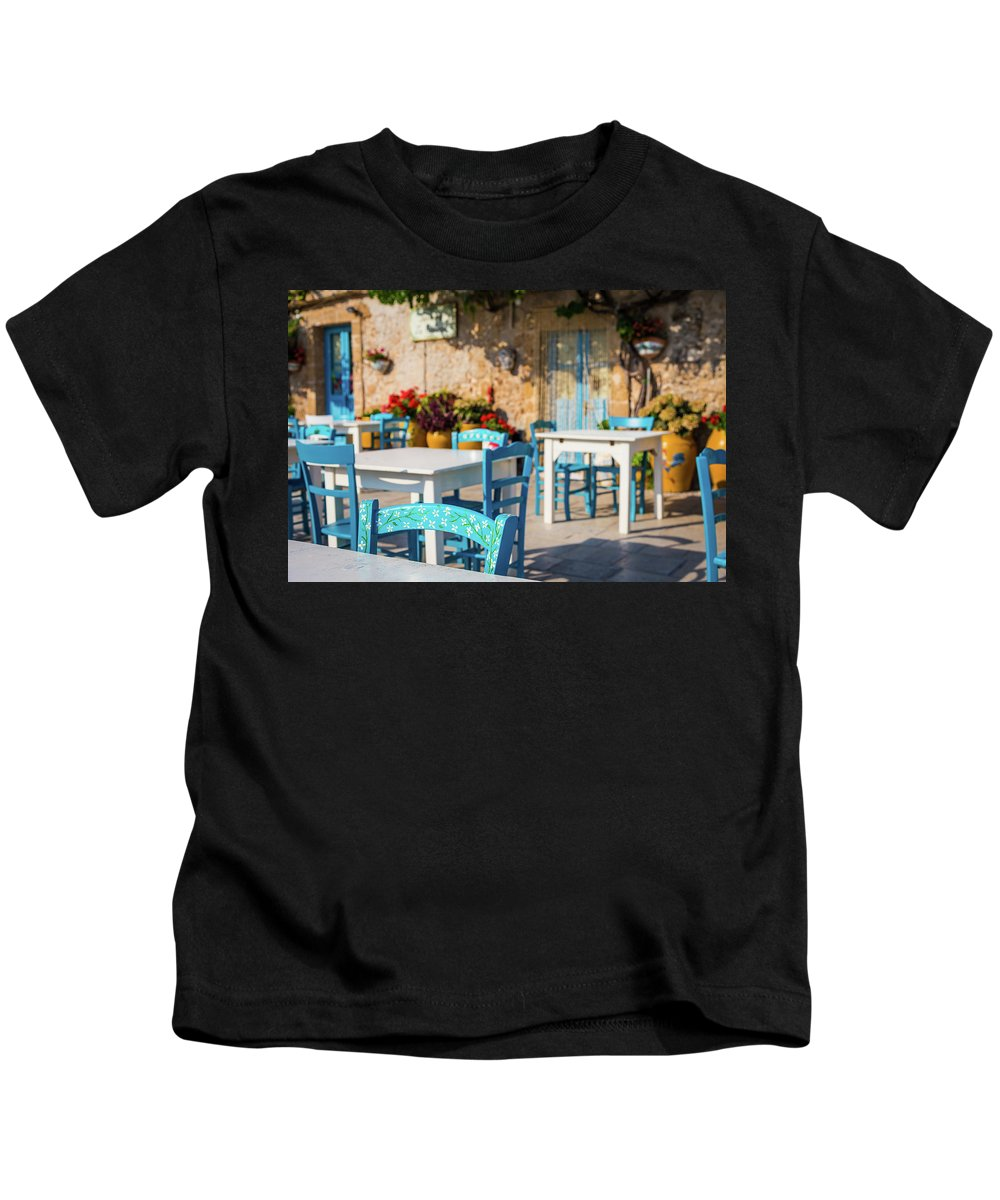 Blue Kids T-Shirt featuring the photograph Tables In A Traditional Italian Restaurant In Sicily, Italy by Paolo Modena