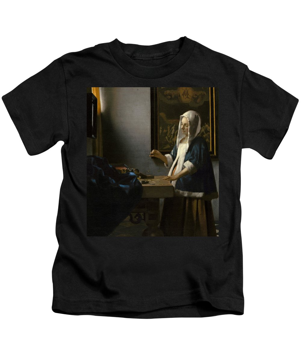 Jan Vermeer Kids T-Shirt featuring the painting Woman Holding A Balance by Jan Vermeer
