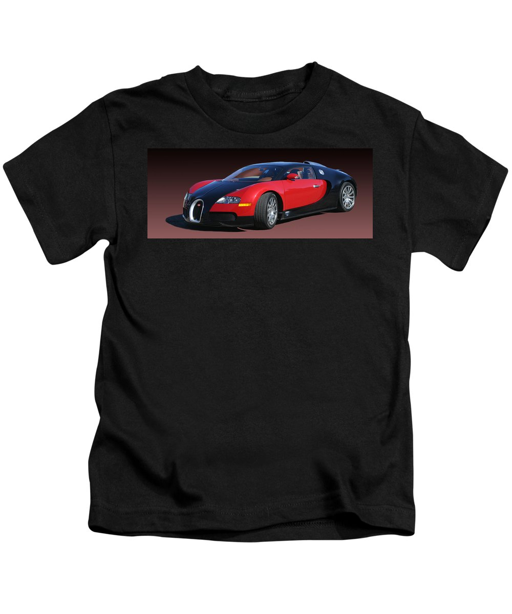 2010 Bugatti Veyron Photographed At The 2010 Santa Fe Concorso By Jack Pumphrey Kids T-Shirt featuring the photograph 2010 Bugatti Veyron E. B. Sixteen by Jack Pumphrey