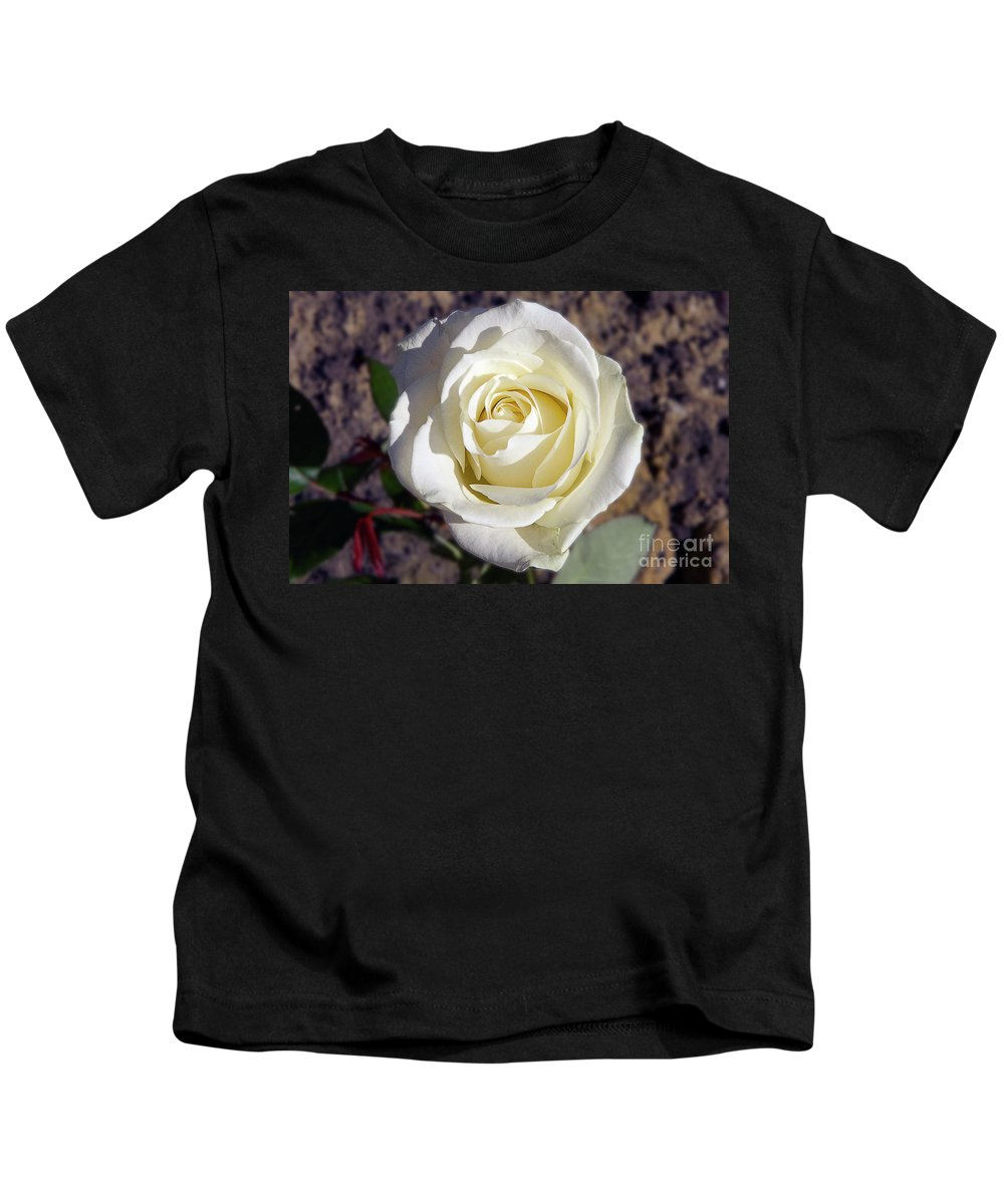 Flowers Kids T-Shirt featuring the photograph White Rose by Elvira Ladocki