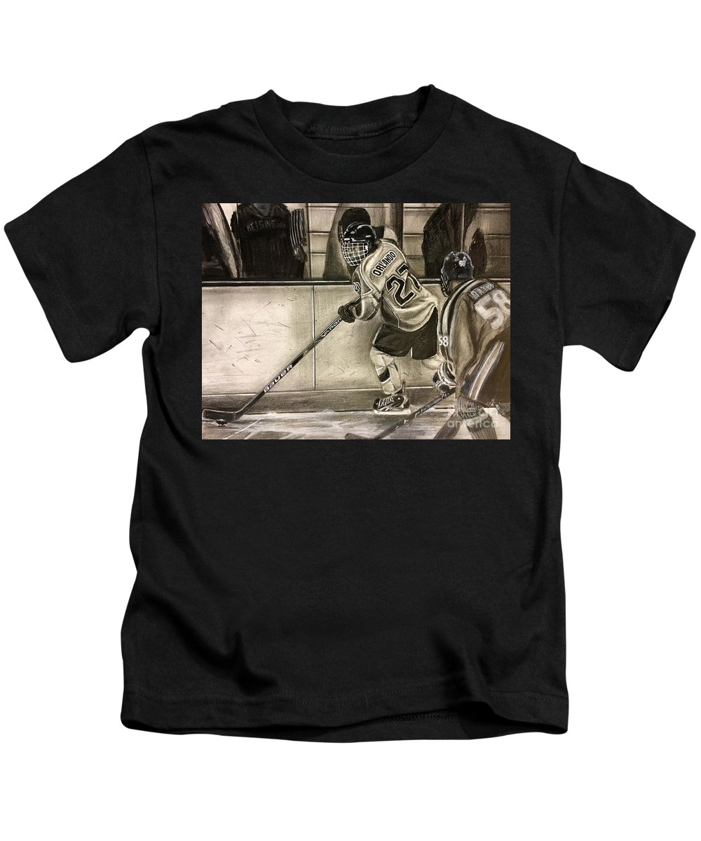 Ice Hockey Goalie Kids T-Shirt featuring the drawing #27 Kenny Orlando by Skincandy Nine