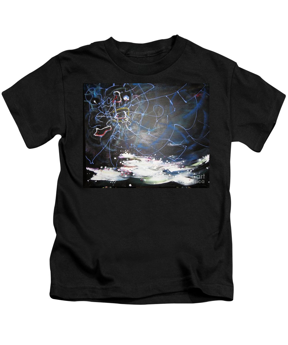 Abstract Paintings Kids T-Shirt featuring the painting Buckwheat Field by Seon-Jeong Kim