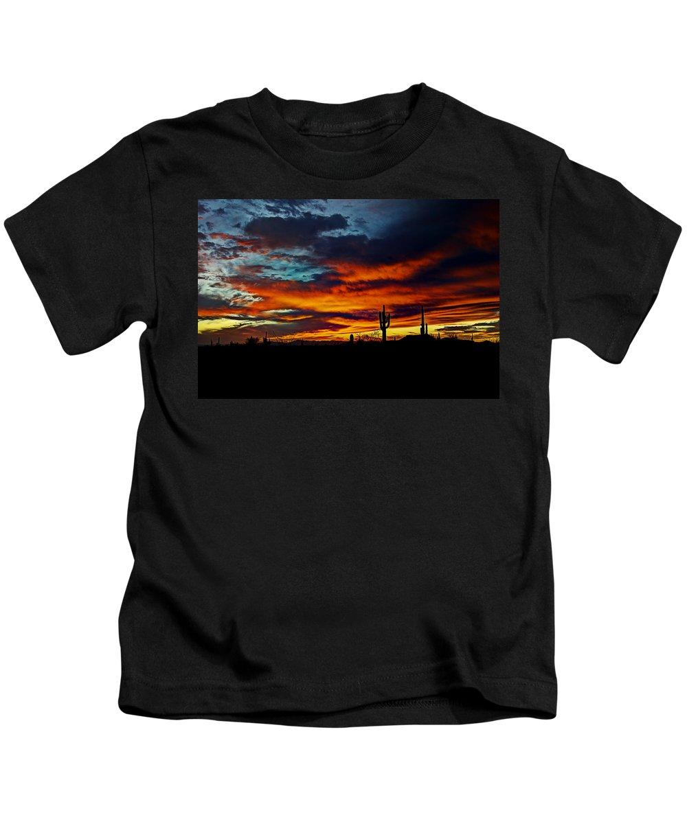 Sunset Kids T-Shirt featuring the photograph Fire Sky by Saija Lehtonen