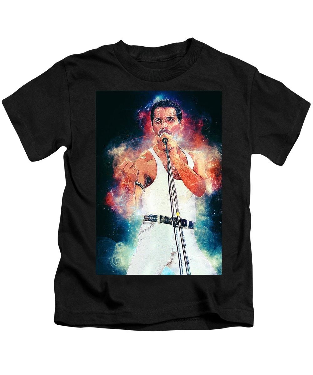 Queen Kids T-Shirt featuring the digital art Freddie Mercury by Zapista Zapista