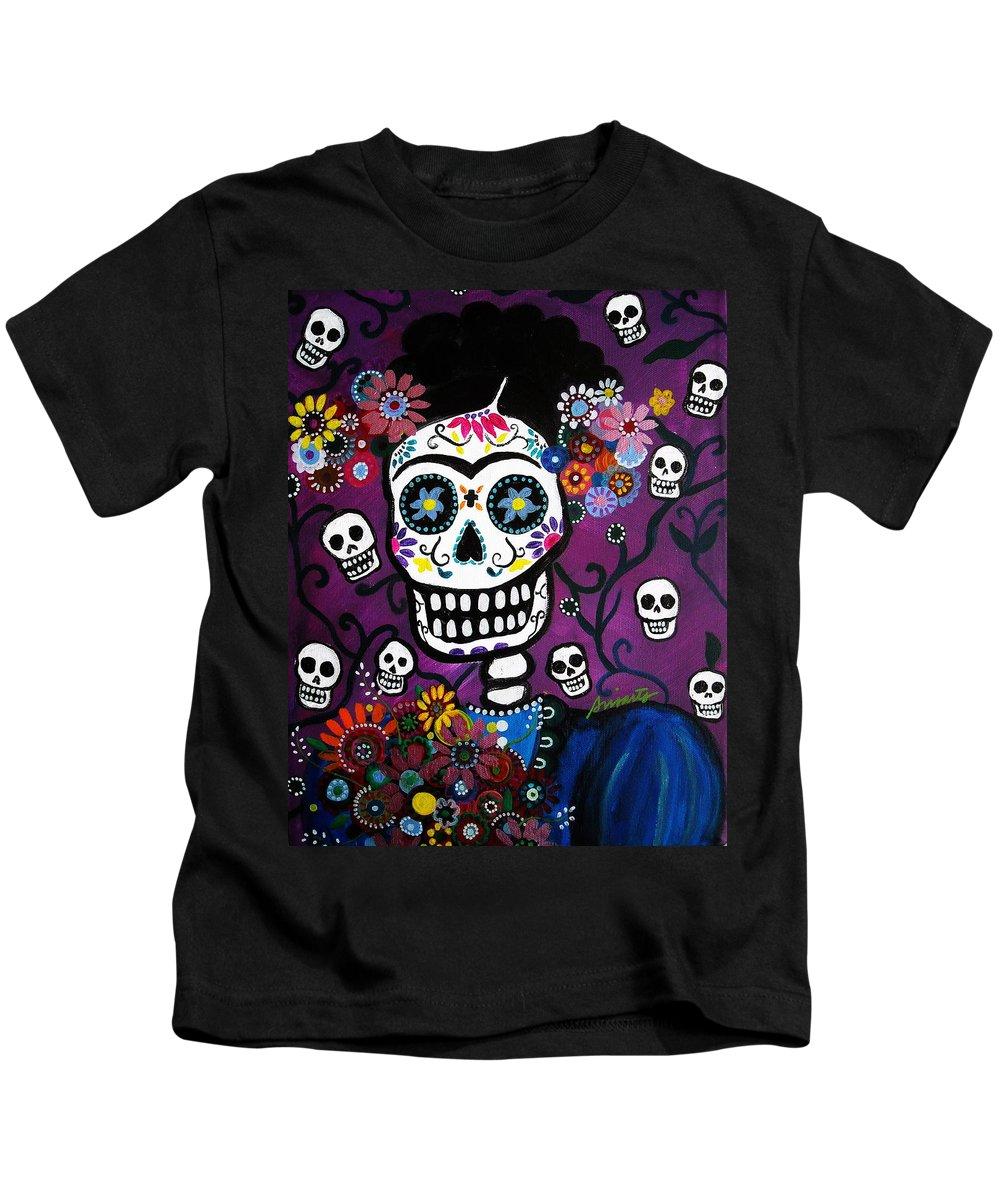 Flower Kids T-Shirt featuring the painting Frida Dia De Los Muertos by Pristine Cartera Turkus