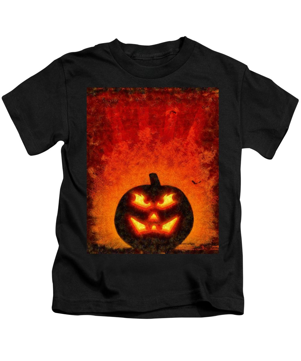 Fantasy Kids T-Shirt featuring the painting Halloween Pumpkin by Sarah Kirk