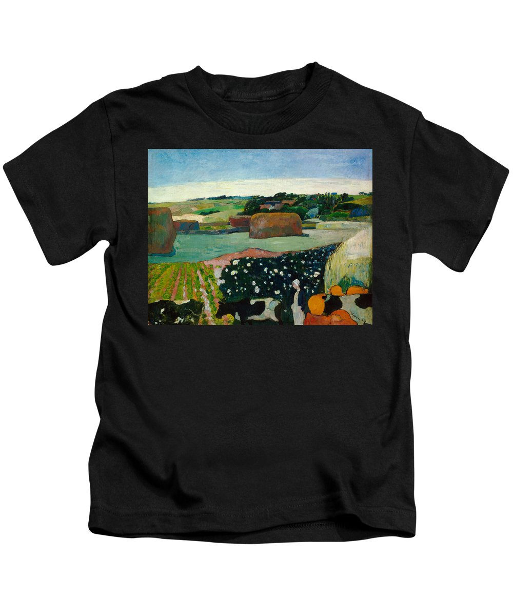 Animal Kids T-Shirt featuring the painting Haystacks In Brittany by Paul Gauguin