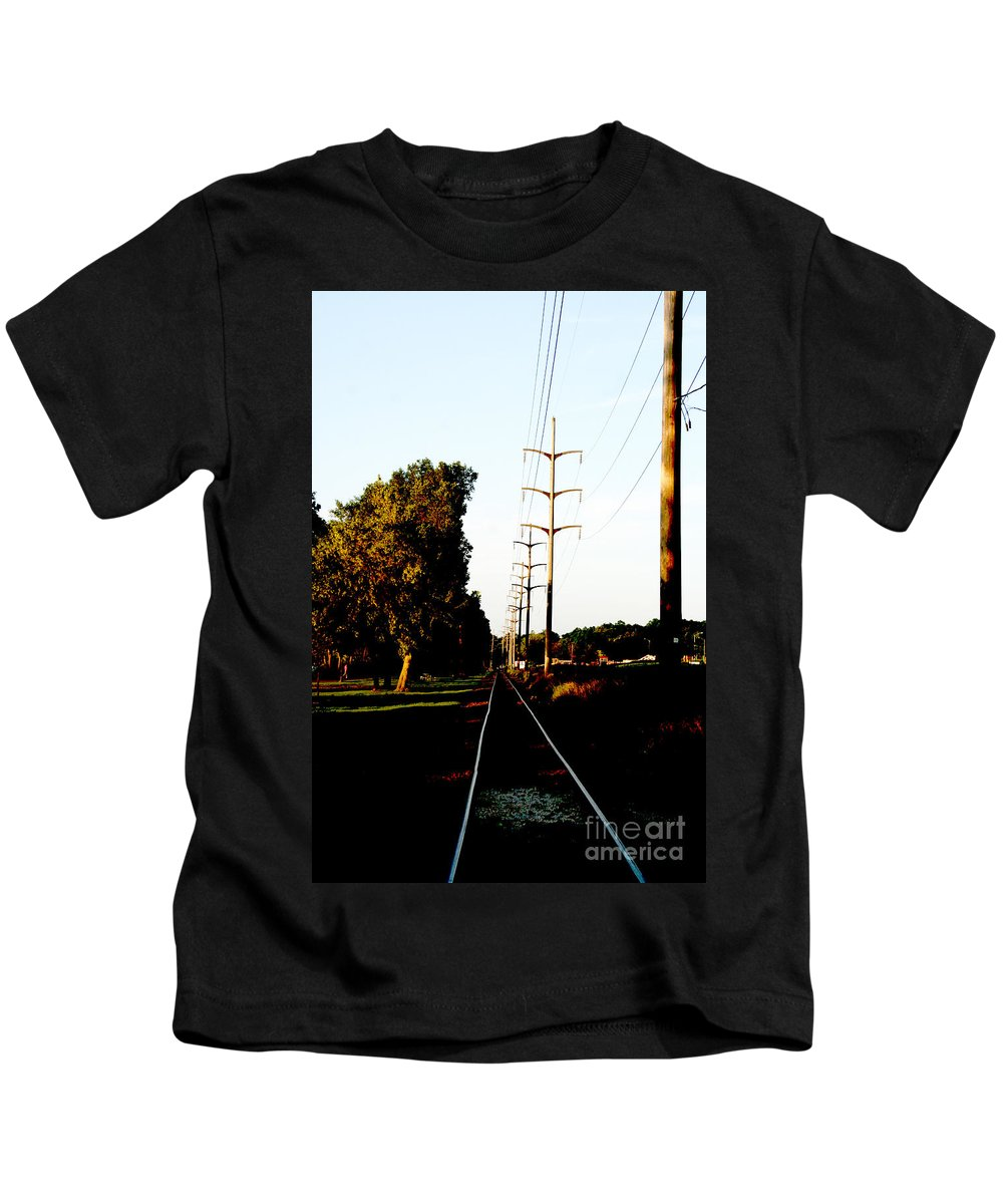 Train Track Kids T-Shirt featuring the photograph In Line by Jamie Lynn