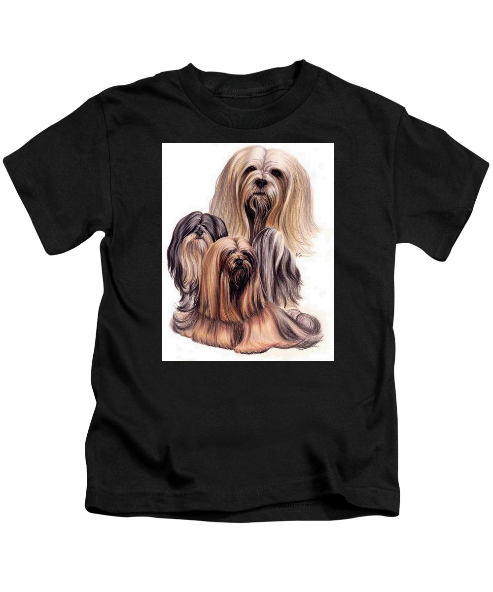 Purebred Kids T-Shirt featuring the drawing Lhasa Apso Triple by Barbara Keith