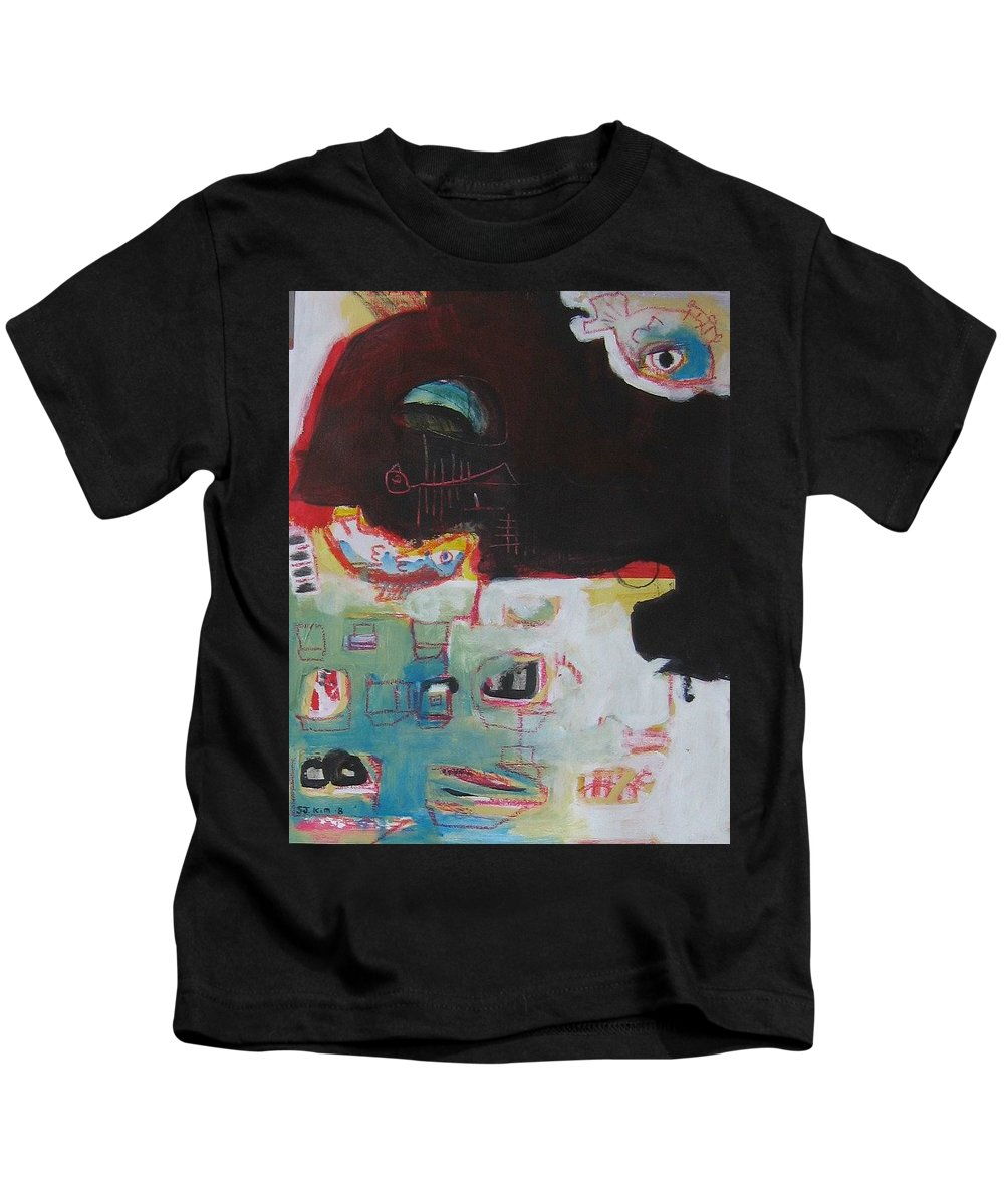 Abstract Paintings Kids T-Shirt featuring the painting Little Bay by Seon-Jeong Kim